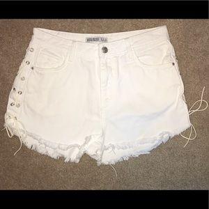Zara lace up denim shorts